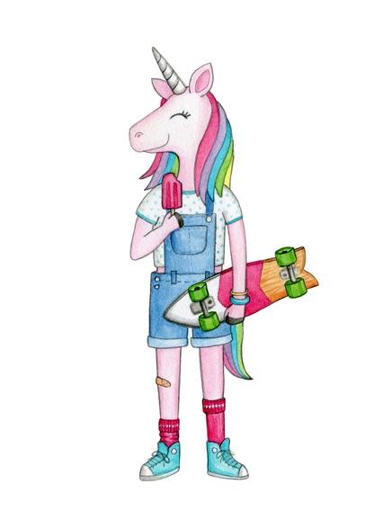 skater girl unicorn 150dpi
