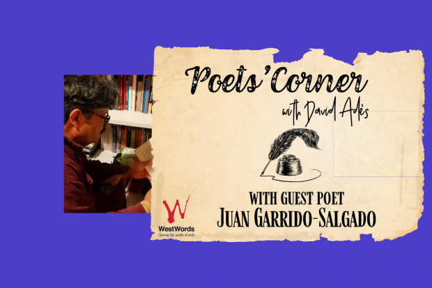 Text reads Poets Corner with David Ades with Guest Poet Juan Garrido-Salgado There is a photo on a purple background of a man wearing glasses turned away from the camera reading a book in a room with a bookshelf.