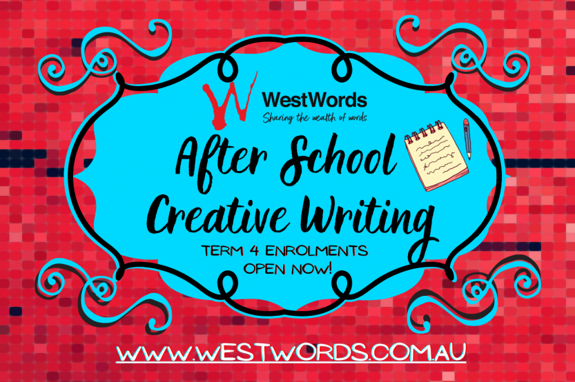 Red mosaic tile background with a blue decorative badge in the centre. Text reads WestWords and After School Creative Writing, Term 4 Enrolments Now Open