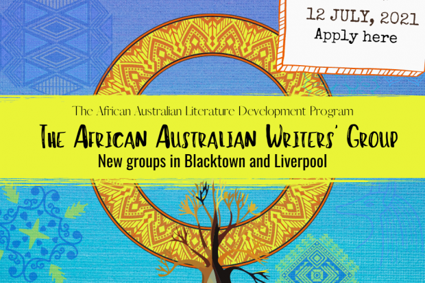 Aboriginal circle design with horizontal paint stripe banner with words 'The African Australian' Writers Group. There is a tree at the bottom of the page. And a sticker at the right top saying to apply here