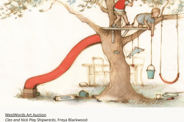 Picture of a boy and girl playing shipwrecks on a tree There is a slippery slide coming from the tree and a swing hanging from one of the branches