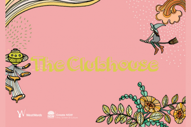 Pink tile with yellow tex saying 'The Clubhouse' centred. Surrounding hand drawn illustration of a witch riding a broom and flowers and swooshes